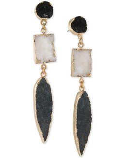 Gold-tone Black & White Resin Drop Earrings