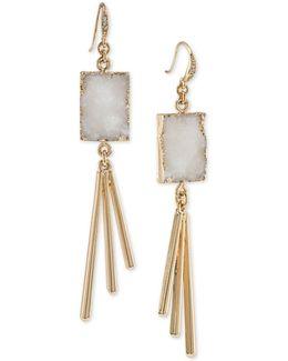 Gold-tone White Resin Drop Earrings