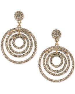 Pavé Orbital Drop Hoop Earrings