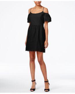 Off-the-shoulder Eyelet Lace Fit & Flare Dress