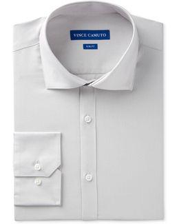Men's Slim-fit Comfort Stretch Black Sateen Dress Shirt