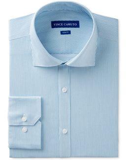 Men's Slim-fit Comfort Stretch Blue Pinstripe Twill Dress Shirt