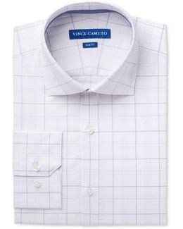 Men's Slim-fit Comfort Stretch Iris/white Glen Plaid Dress Shirt