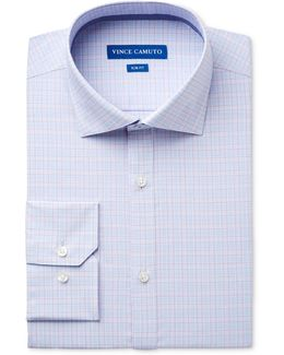 Men's Slim-fit Comfort Stretch Iris Check Dress Shirt