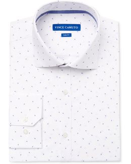 Men's Slim-fit Comfort Stretch Blue Paisley Print Dress Shirt