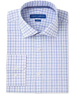 Men's Slim-fit Comfort Stretch White/blue Melange Check Dress Shirt