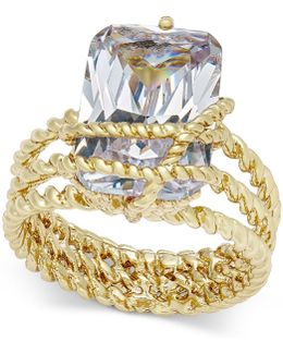 Gold-tone Cubic Zirconia Wrap Ring
