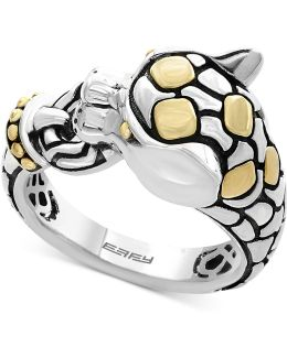 Two-tone Panther Ring In Sterling Silver And 18k Gold
