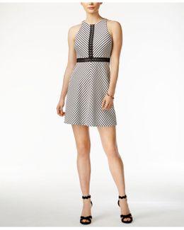 Crochet Striped A-line Dress
