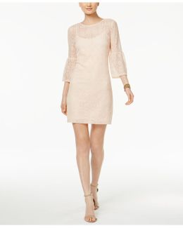 Lace Illusion Bell-sleeve Shift Dress