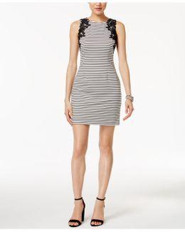 Striped Lace-appliqué Sheath Dress
