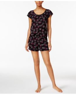 Printed Flutter-sleeve Top And Boxer Shorts Pajama Set
