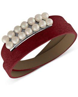 Silver-tone Imitation Pearl Leather Wrap Bracelet