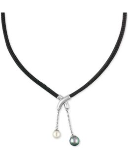 Silver-tone Imitation Pearl Black Leather Pendant Necklace