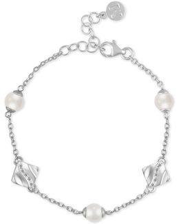 Sterling Silver Pavé & Imitation Pearl Bracelet