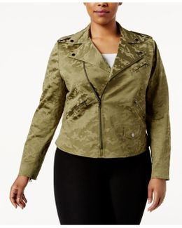 Plus Size Camouflage Jacquard Moto Jacket