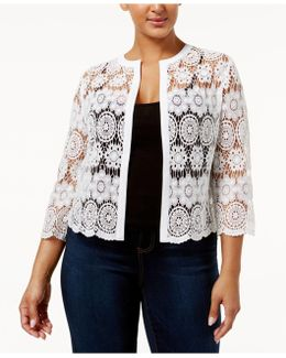 Plus Size Cotton Sheer Crochet Cardigan
