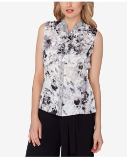 Stand-collar Double-ruffle Blouse