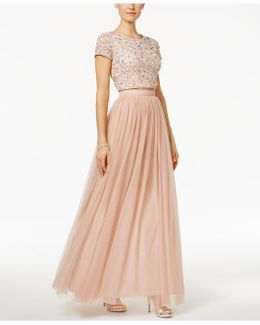 2-pc. Sequined Crop Top And Tulle Skirt