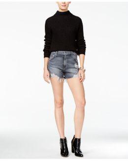 Bella Shredded Cotton Denim Shorts