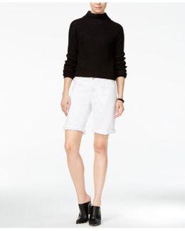 Finn Cuffed White Wash Denim Bermuda Shorts