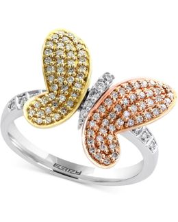 Diamond Butterfly Ring (3/8 Ct. T.w.) In 14k White Gold, Rose Gold And Gold