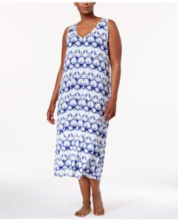 Plus Size Racerback Printed Knit Nightgown