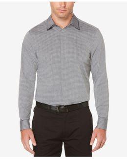 Men's Dot And Grid Pattern Cotton Shirt