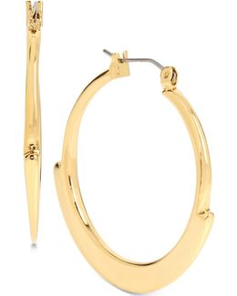 Gold-tone Geometric Edge Hoop Earrings