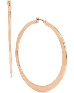 Rose Gold-tone Hammer Finish Hoop Earrings