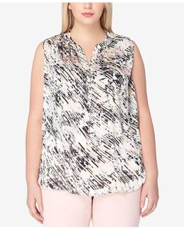 Plus Size Abstract-print Shell