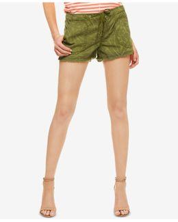 Palm Leaf-print Chambray Cutoff Shorts