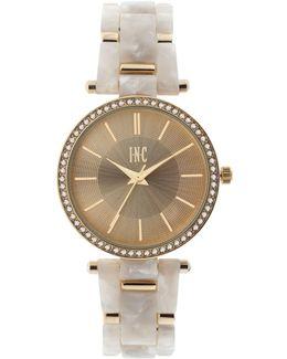 Women's Gold-tone Mixed-metal & Acrylic Link Bracelet Watch 35mm