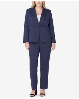 Plus Size Shawl-collarl Pantsuit
