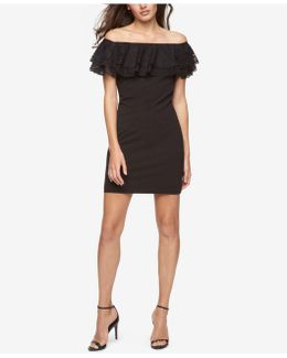 Off-the-shoulder Lace Ruffle Sheath Dress