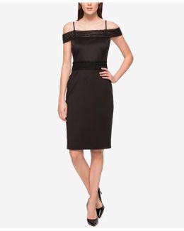 Off-the-shoulder Scuba Sheath Dress