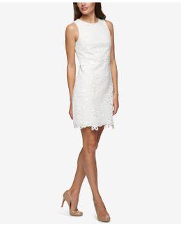Sleeveless Floral Appliqué Sheath Dress
