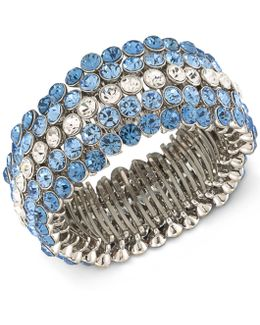 Silver-tone Blue & Clear Crystal Stretch Bracelet