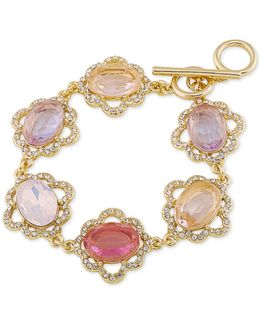 Gold-tone Multi-stone And Pavé Link Bracelet