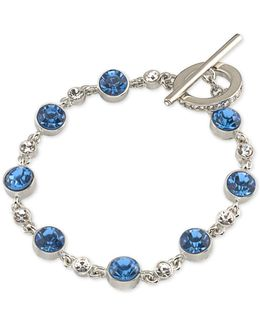 Silver-tone Blue & Clear Crystal Toggle Bracelet