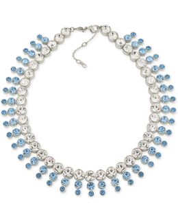 Silver-tone Blue & Clear Crystal Collar Necklace