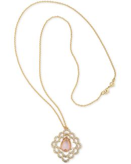 Gold-tone Pavé & Pink Stone Scalloped Pendant Necklaces