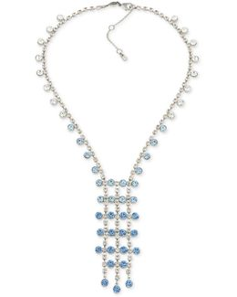 Silver-tone Blue & Clear Crystal Lariat Necklace