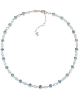 Silver-tone Clear & Blue Crystal Collar Necklace