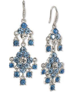 Silver-tone Blue & Clear Crystal Chandelier Earrings