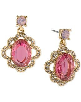 Gold-tone Pink Stone And Pavé Drop Earrings