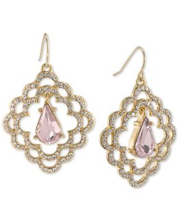 Gold-tone Pavé & Pink Stone Scalloped Drop Earrings