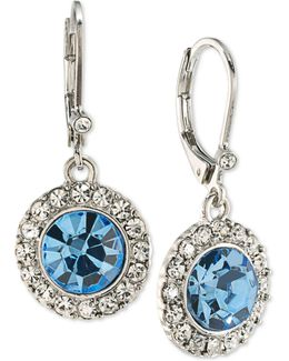 Silver-tone Blue & Clear Crystal Drop Earrings