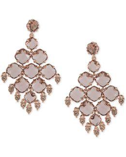 Multi-stone Geometric Clip-on Drop Earrings