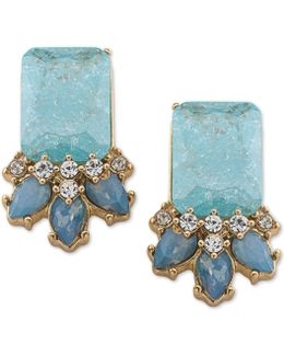 Gold-tone Stone And Crystal Cluster Drop Earrings